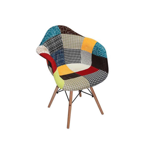 Zach Fabric Patched Multi colored patchwork Chair.