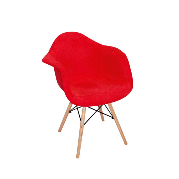 Zach Fabric Patched Red Chair.