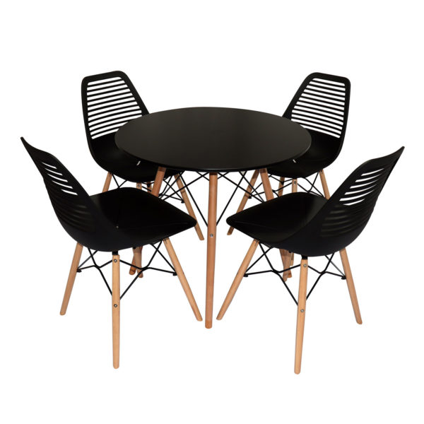 Kate Cafe Table Set Black by Skye Interio