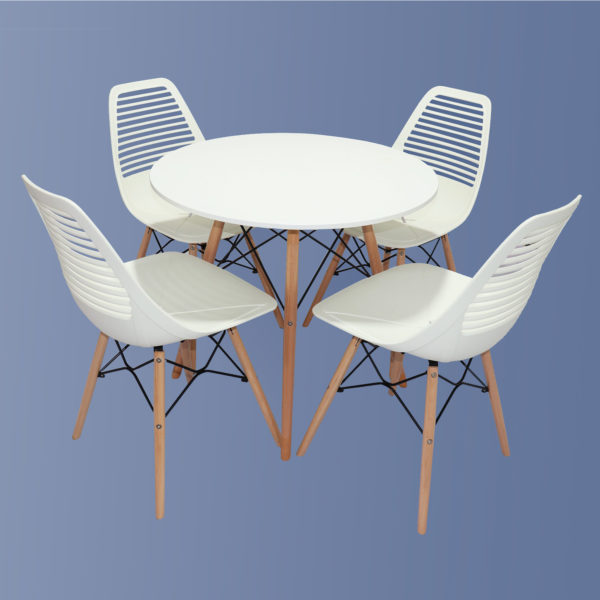 Kate Cafe Table Set White by Skye Interio