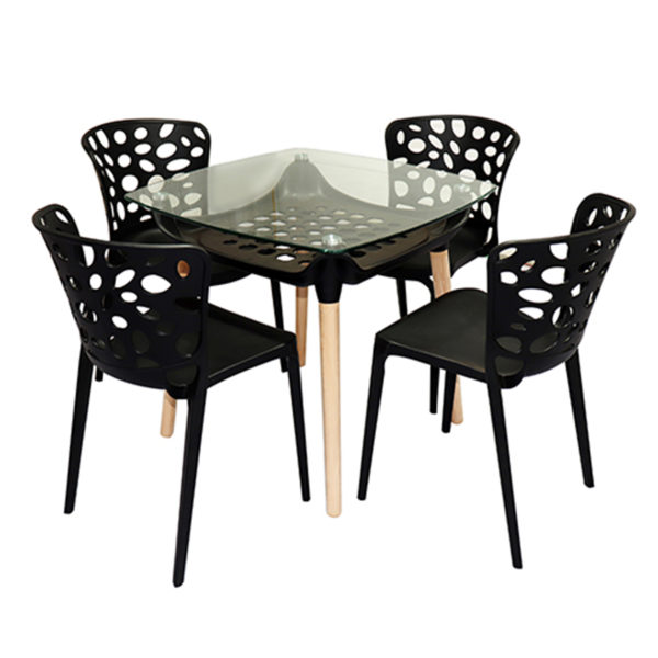 Amand Cafe Table Set Black by Skye Interio.
