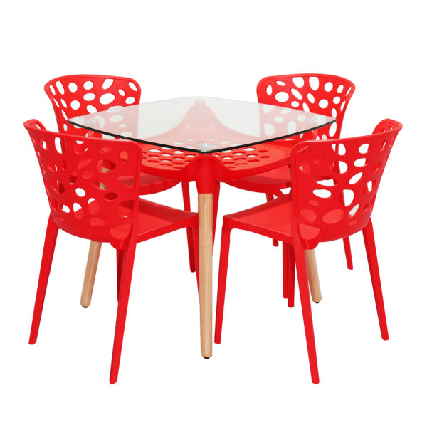 Amand Cafe Table Set Red by Skye Interio.