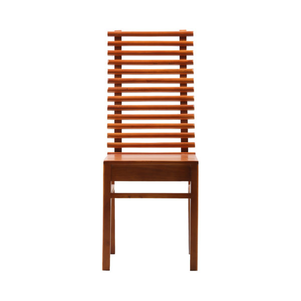 Rods Dining Chair Mahogany Wood by Ansne Furniture.
