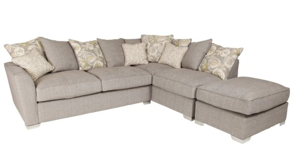 Ida Grey Pillow Back Corner Sofa