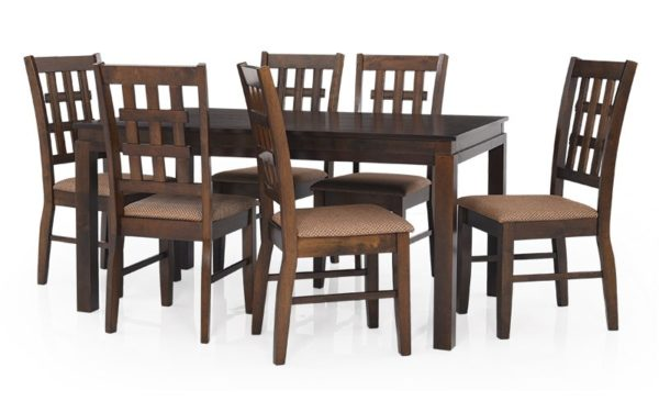 Ajim 4 Seater Solid Wood Dining Set with Cushioned Chairs