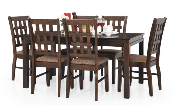 Ajim 6 Seater Solid Wood Dining Set with Cushioned Chairs