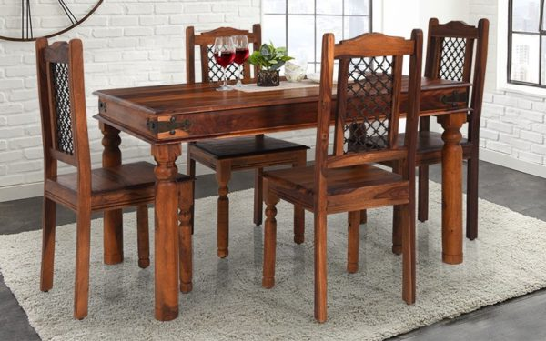 Alfy 4 Seater Solid Wood Dining Set