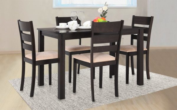 Asla 4 Seater Solid Wood Dining Set with Cushioned Chairs