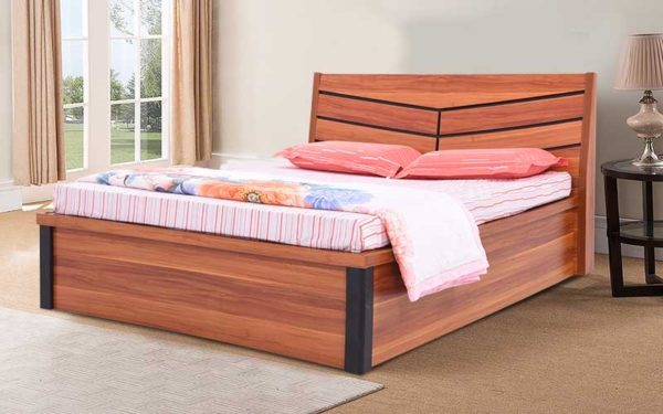 Asriel King Size Bed With Hydraulic Storage and Melamine Finish
