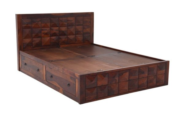 Cooper King Size Bed With Side Opening and Lifton Storage in Sheesham Wood