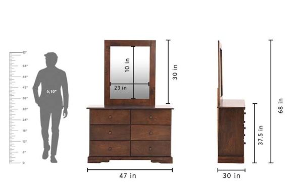 Frida Dresser With Storage and Mirror in Solidwood