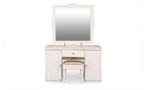 Keen Dresser with Cushioned Stool Storage and Mirror in High Gloss Pearl Finish