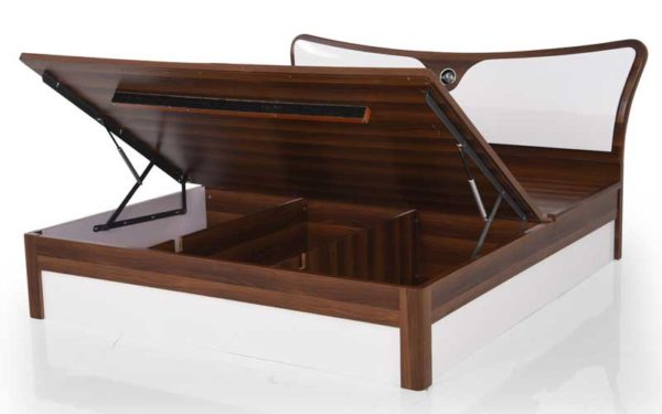 Lin Queen Size Bed with Hydraulic Storage in High Gloss Finish