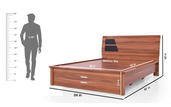 Alfre Queen Size Bed With Hydraulic Storage and Reflective High Gloss Finish