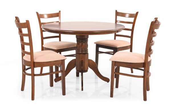 Mamu 4 Seater Solid Wood Dining Set with Cushioned Chairs
