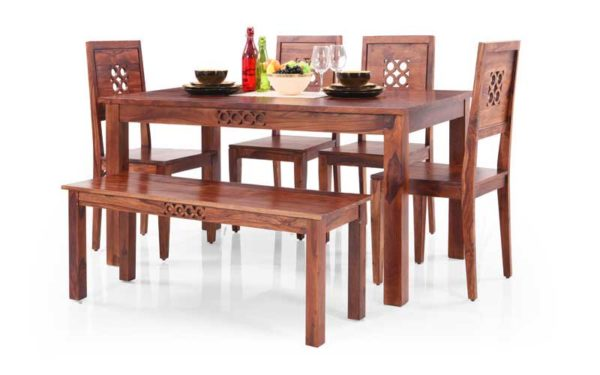Mannu 6 Seater Solid Wood Dining Set