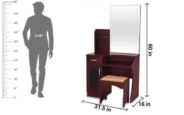 Nesta Dresser with Cushioned Stool Storage and Mirror in Melamine Finish