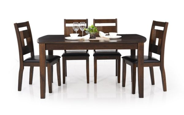Rafy 6 Seater Solid Wood Dining Set with Cushioned Chairs