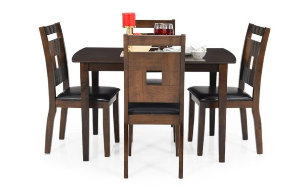 Rafy 4 Seater Solid Wood Dining Set with Cushioned Chairs