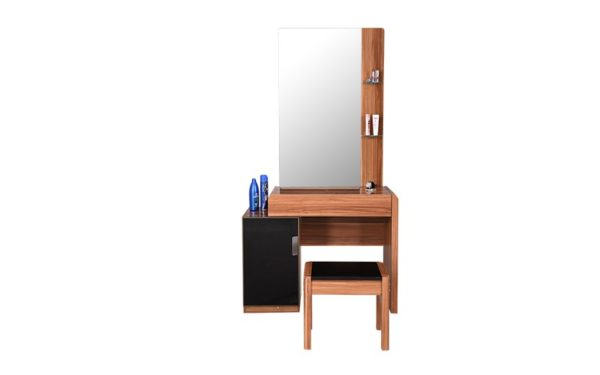 Alfre Dresser with Stool Storage Shelves and Mirror With High Gloss Finish