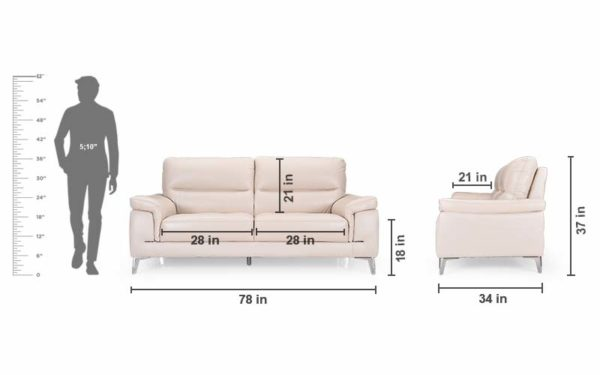 Asa Three Seater Sofa in Genuine Leather