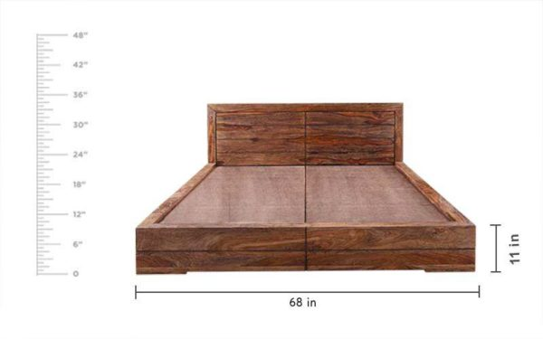 Bryan Queen Bed Without Storage With Brown Stone Finish in Sheesham Wood