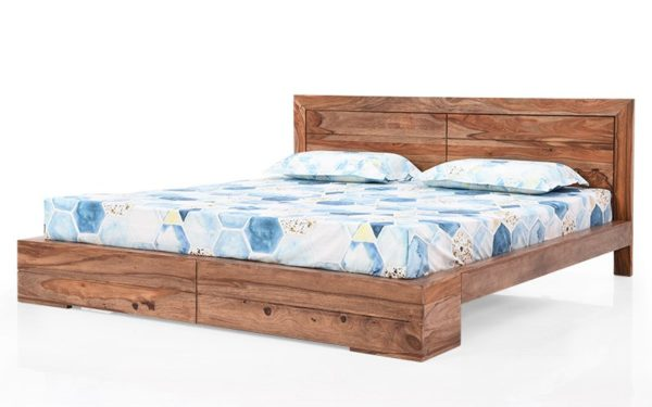 Bryan King Bed Without Storage With Brown Stone Finish in Sheesham Wood