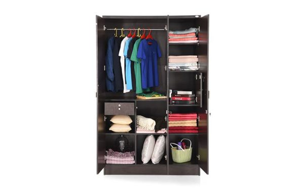 Carne 3 Door Wardrobe with Safety Lock and Melamine Finish