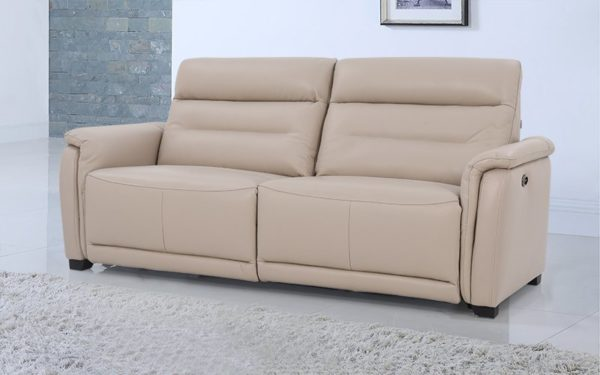 Clay Three Seater Manual Recliner With Geniune Leather