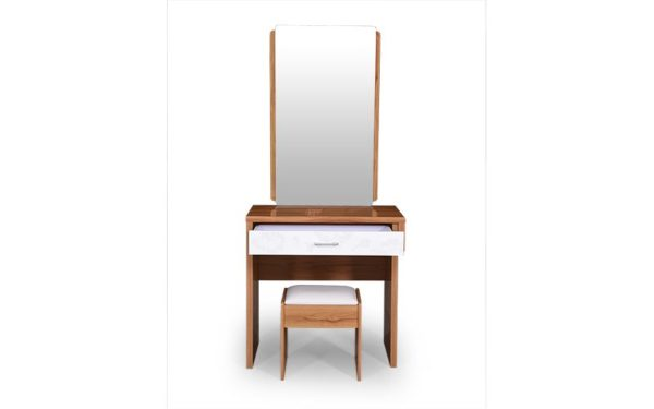 Dafne Dresser With Cushioned Stool Storage and Mirror in High Gloss Finish