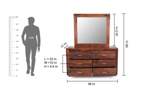 Fring Dresser with Storage and Mirror