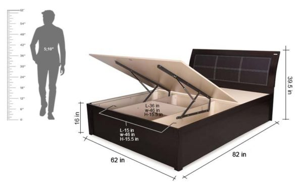 Hera Queen Size Bed With Hydraulic Storage and Melamine Finish