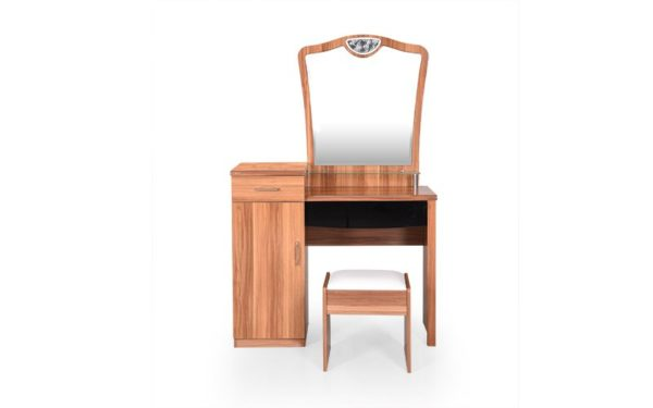 Hoeks Dresser with Cushioned Stool Storage and Mirror in High Gloss Finish