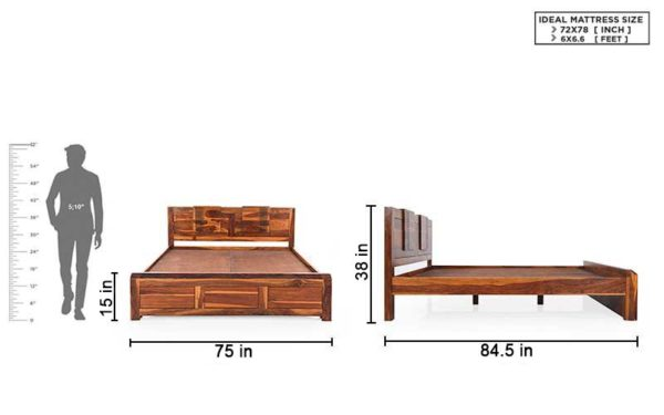 Jesse King Size Bed Without Storage in Sheesham Wood