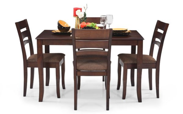 Jibi 4 Seater Solid Wood Dining Set with Cushioned Chairs