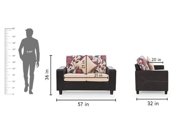 Jodie Two Seater Sofa in Fabric