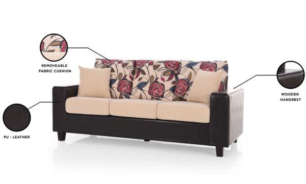 Jodie Three Seater Sofa in Fabric