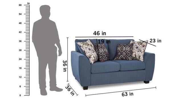 Leyva Two Seater Sofa In Fabric