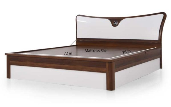 Lin King Size Bed with Hydraulic Storage in High Gloss Finish