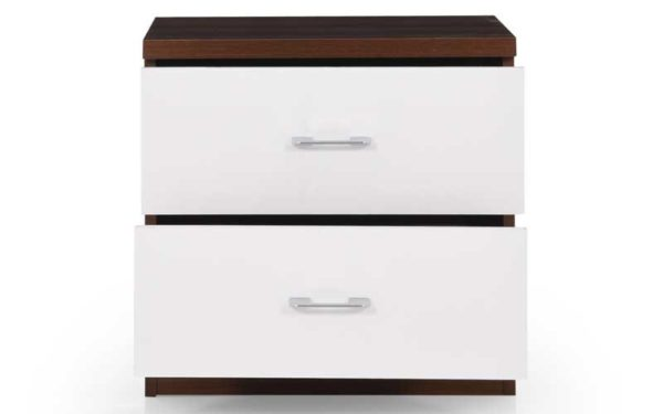 Lin Bed Side Table with Drawers in High Gloss Finish