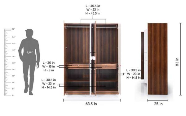 Lin 4 Door Wardrobe in High Gloss Finish