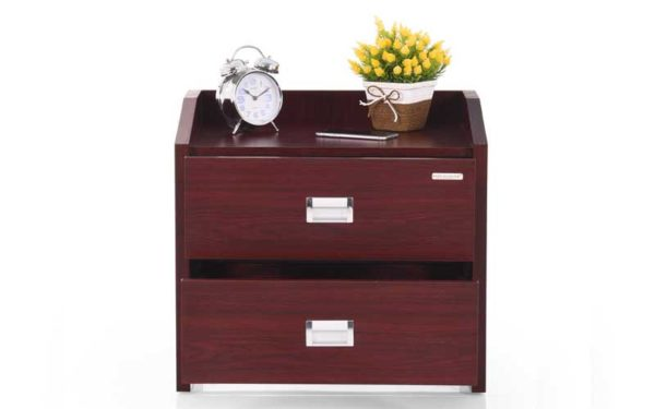 Nesta Bed Side Table with Drawers in Melamine Finish