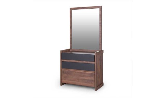 Shelby Dresser with Storage and Mirror in Wooden Finish
