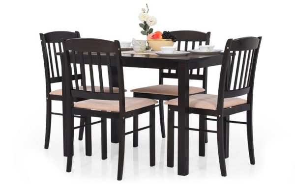 Shiya 4 Seater Solid Wood Dining Set with Cushioned Chairs