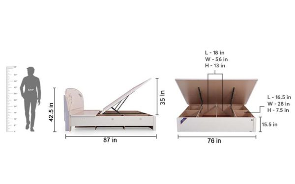 Sylvia King Size Bed with High Gloss Reflective Finish
