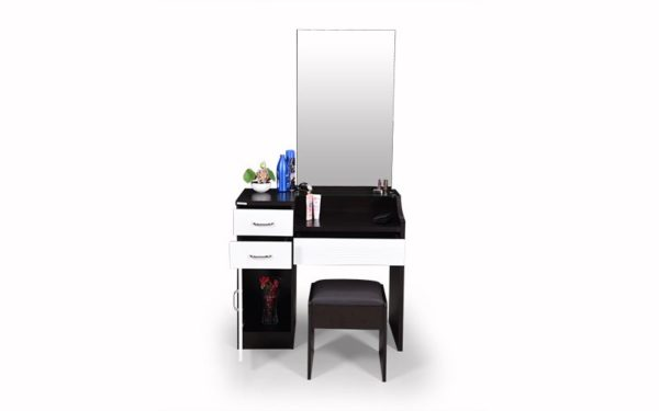 Voss Dresser with Cushioned Stool Storage and Mirror in Melamine Finish