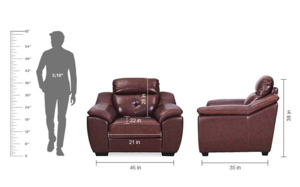 Yael Single Seater Genuine Leather Sofa