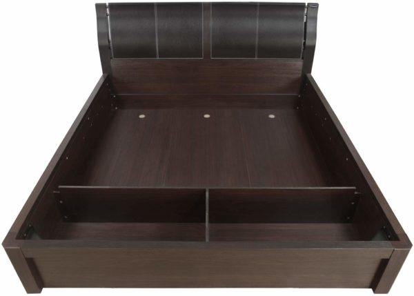 Antonia King Size Bed with Storage in Walnut Finish by Nilkamal
