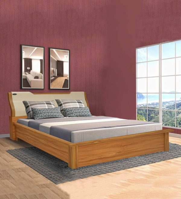Carla Queen Bed with Storage in Oak Cream Color By Nilkamal