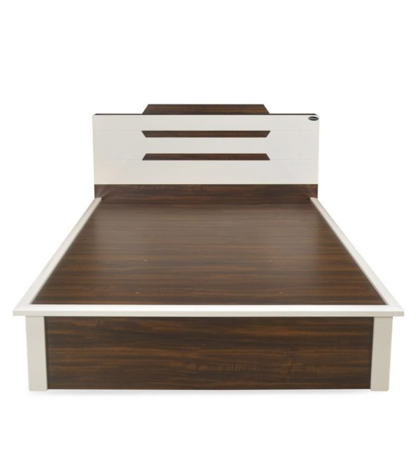 Alicia Queen Size Bed with Storage in Brown and Cream Finish by Nilkamal